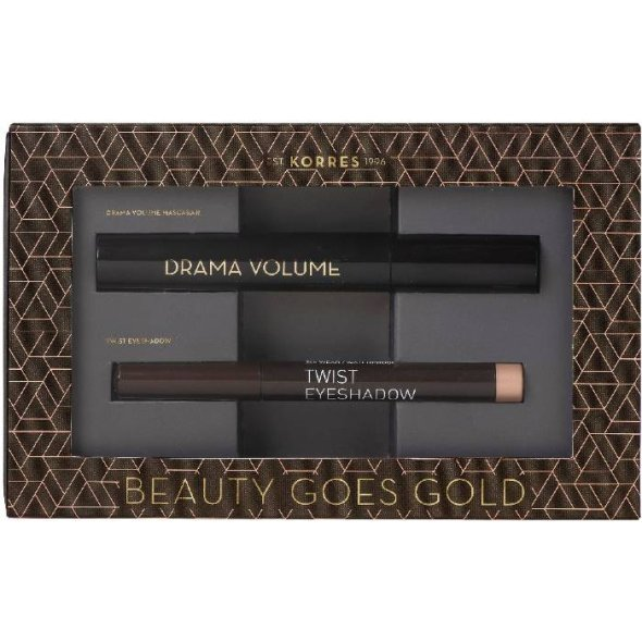 Korres Beauty Goes Gold Promo: Volcanic Minerals Mascara Drama Volume 01 Black, 11ml + Volcanic Minerals Twisted Eyeshadow 68 Golden Pink, 1.4g