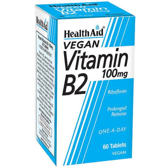 Health Aid Vitamin B2 100mg - Ριβοφλαβίνη 100mg, 60Tabs