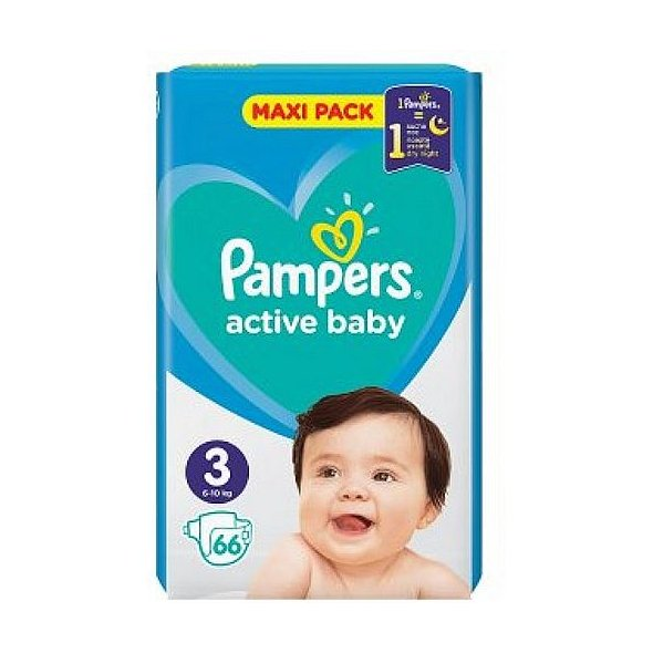 Pampers Active Baby Πάνες Maxi Pack No3 (6-10 kg), 66Τμχ