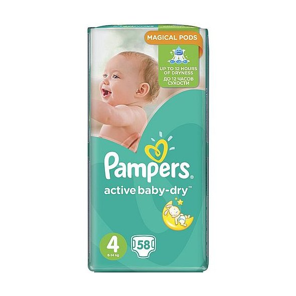 Pampers Active Baby-Dry Πάνες Νο4 (Maxi:8-14Kg) 58τμχ