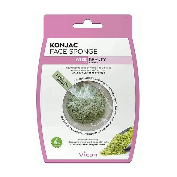 Vican Wise Beauty Konjac Face Sponge With Green Tea Powder 1Τμχ