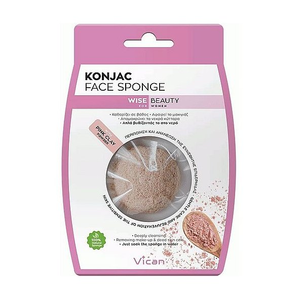 Vican Wise Beauty Konjac Face Sponge With Pinc Clay Powder 1Τμχ