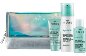 Nuxe Aquabella Routine Pouch: Beauty-Revealing Moisturising Emulsion 50ml + Micro-Exfoliating Purifying Gel 15ml + Beauty-Revealing Essence-Lotion 35ml